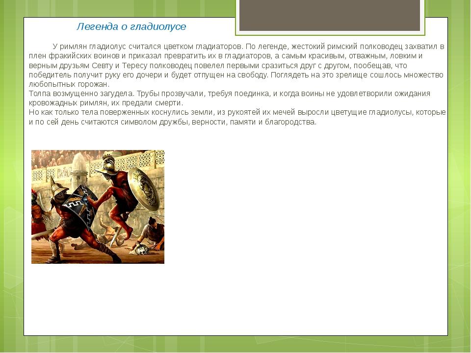 Легенда о гладиолусе У римлян гладиолус считался цветком гладиаторов. По ле...