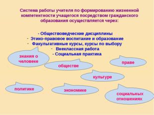 Система работы учителя по формированию жизненной компетентности учащегося по