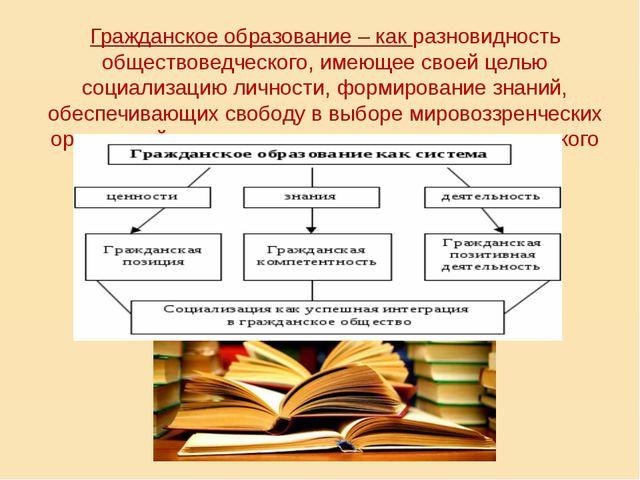 Гражданское образование – как разновидность обществоведческого, имеющее свое...