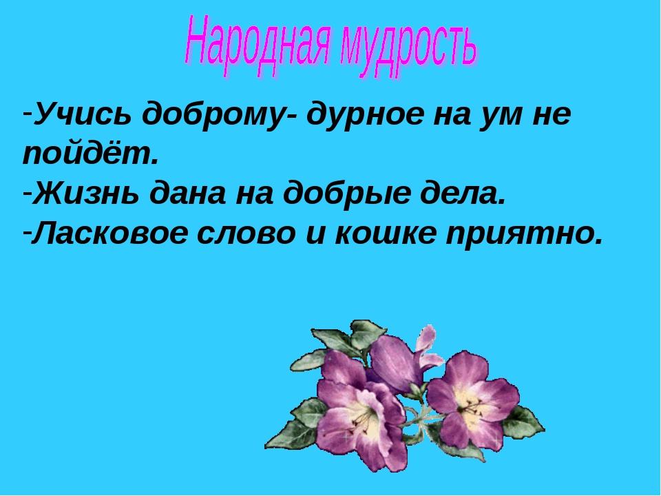 Учись доброму- дурное на ум не пойдёт. Жизнь дана на добрые дела. Ласковое сл...