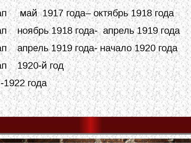 1 этап май 1917 года– октябрь 1918 года 2 этап ноябрь 1918 года- апрель 1919...