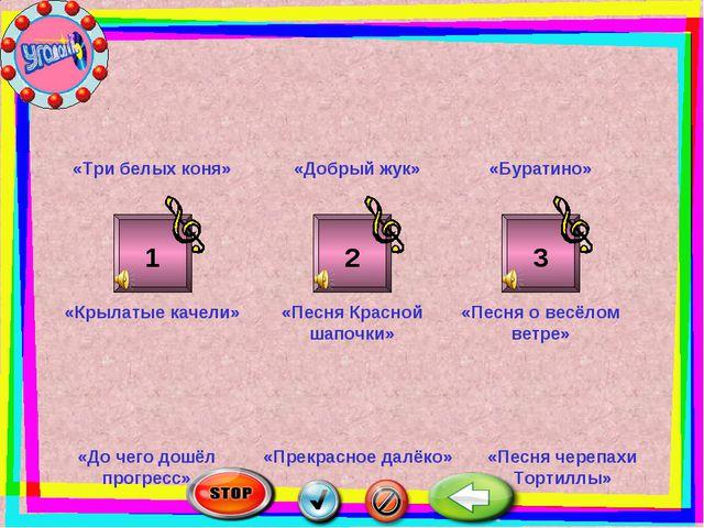 1 2 3 «Три белых коня» «Добрый жук» «Буратино» «Крылатые качели» «Песня Красн...