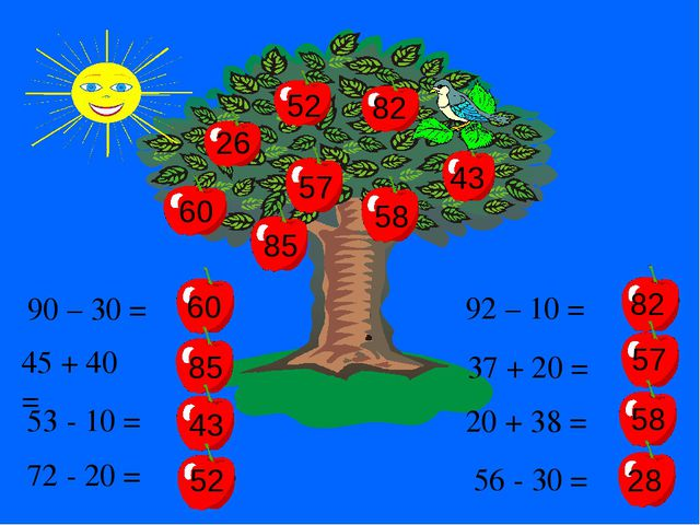 90 – 30 = 60 45 + 40 = 85 53 - 10 = 43 72 - 20 = 52 57 82 82 85 60 43 52 92 –...