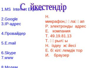 1.MS Internet Explorer 2.Google 3.IP-адрес 4.Провайдер 5.E.mail 6.Skype 7.www