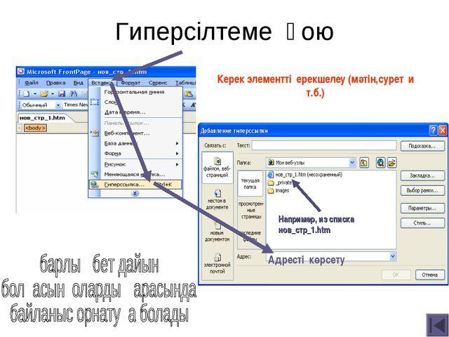 Гиперсілтеме қою Адресті көрсету Например, из списка нов_стр_1.htm Керек элем...