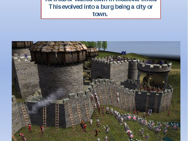 "2. If a town name ends in ""-burg"" it was probably founded as a what? Burg was..."