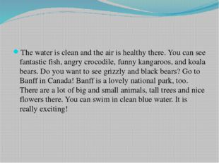 The water is clean and the air is healthy there. You can see fantastic fish,