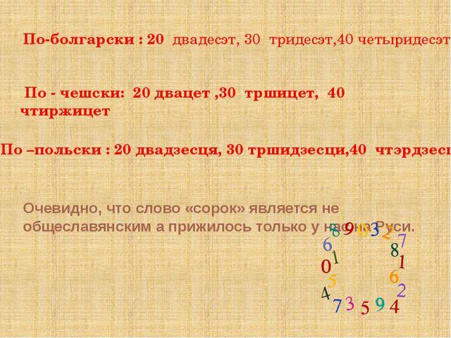 Очевидно, что слово «сорок» является не общеславянским а прижилось только у...
