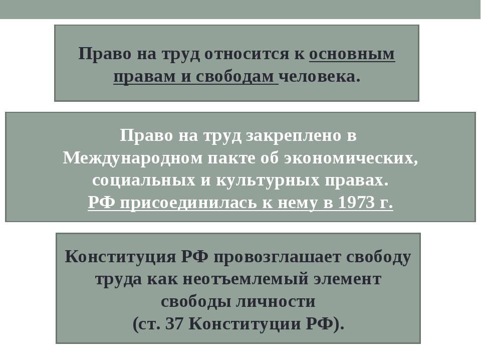 Право на труд относится к основным правам и свободам человека. Право на труд...