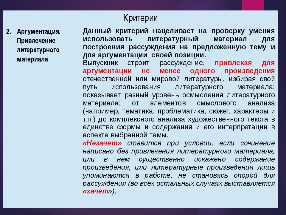 Критерии Аргументация. Привлечение литературного материала Данный критерий на...