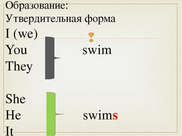 Образование: Утвердительная форма I (we) You swim They She He swims It 