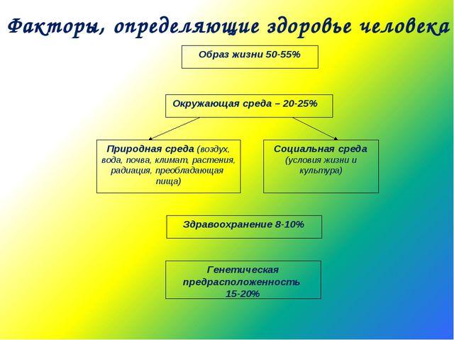 Факторы, определяющие здоровье человека Образ жизни 50-55%