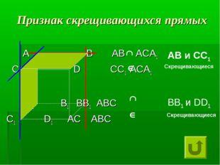 Признак скрещивающихся прямых А В АВ АСА1 С D СС1 АСА1 А1 В1 ВВ1 АВС С1 D1 АС