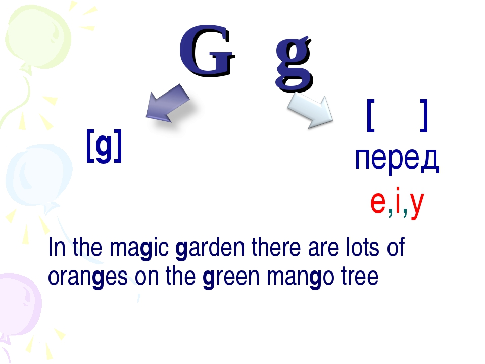 G	g 	In the magic garden there are lots of oranges on the green mango tree [ʤ...