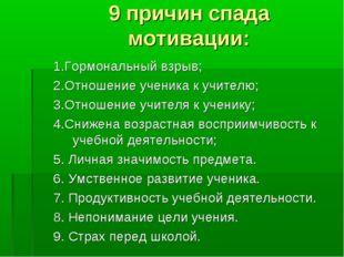 9 причин спада мотивации: 1.Гормональный взрыв; 2.Отношение ученика к учителю