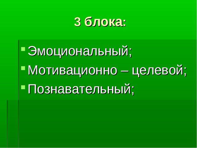 3 блока: Эмоциональный; Мотивационно – целевой; Познавательный;