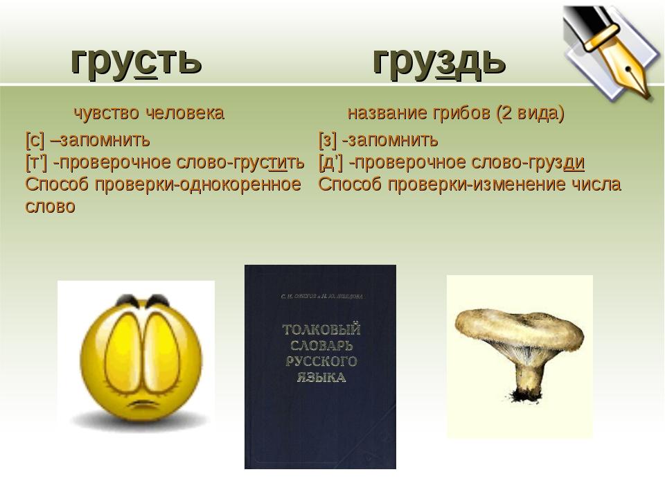 грусть груздь [с] –запомнить [т'] -проверочное слово-грустить Способ проверк...