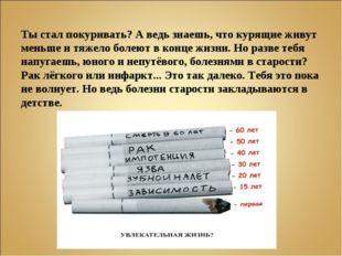 Ты стал покуривать? А ведь знаешь, что курящие живут меньше и тяжело болеют в