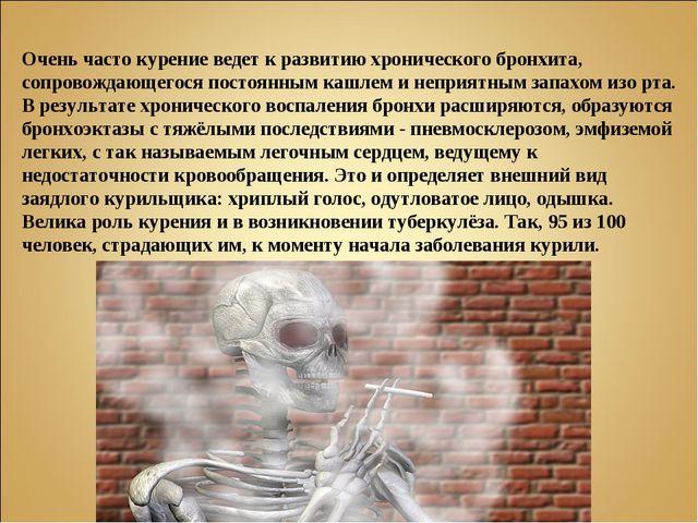 Очень часто курение ведет к развитию хронического бронхита, сопровождающегося...