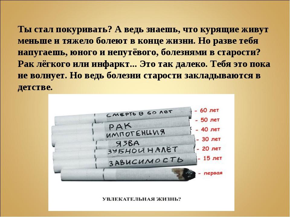 Ты стал покуривать? А ведь знаешь, что курящие живут меньше и тяжело болеют в...
