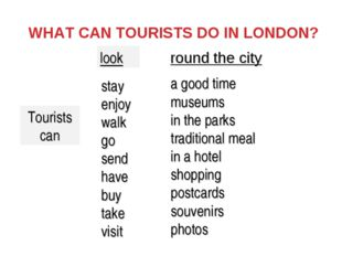 WHAT CAN TOURISTS DO IN LONDON? Tourists can stay enjoy walk go send have buy