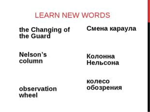LEARN NEW WORDS the Changing of the Guard Nelson's column observation wheel С