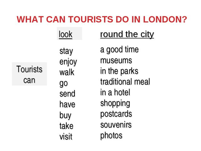 WHAT CAN TOURISTS DO IN LONDON? Tourists can stay enjoy walk go send have buy...