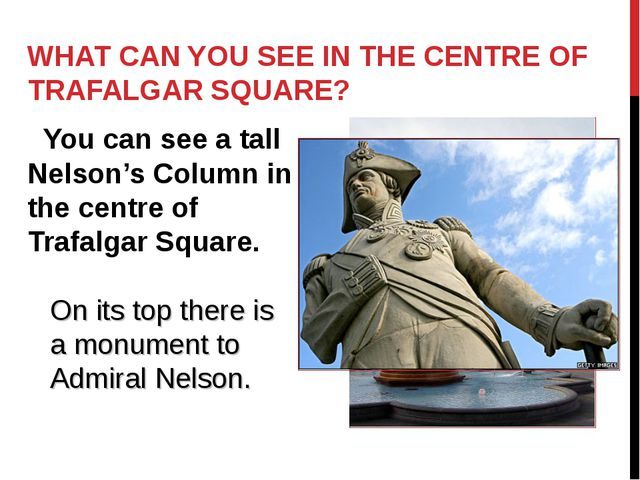 WHAT CAN YOU SEE IN THE CENTRE OF TRAFALGAR SQUARE? You can see a tall Nelson...