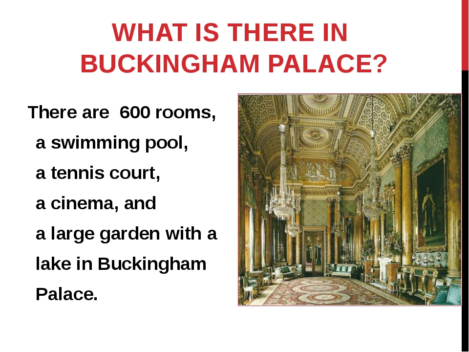 WHAT IS THERE IN BUCKINGHAM PALACE? There are 600 rooms, a swimming pool, a t...