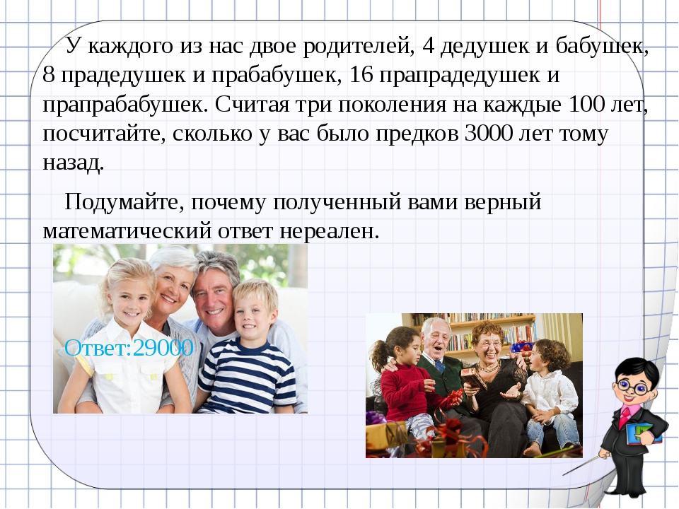 У каждого из нас двое родителей, 4 дедушек и бабушек, 8 прадедушек и прабабуш...