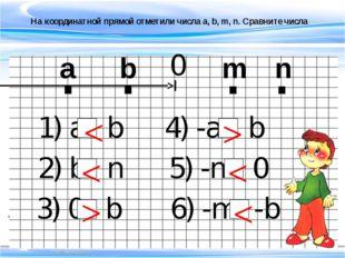 На координатной прямой отметили числа a, b, m, n. Сравните числа . . . . a b