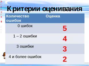 Критерии оценивания Количество ошибок Оценка 0 шибок 5 1 – 2 ошибки 4 3 ошибк