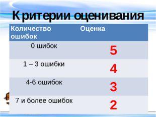Критерии оценивания Количество ошибок Оценка 0 шибок 5 1 – 3 ошибки 4 4-6 оши