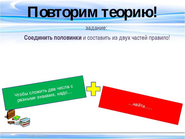 Повторим теорию! задание: Соединить половинки и cоставить из двух частей прав...