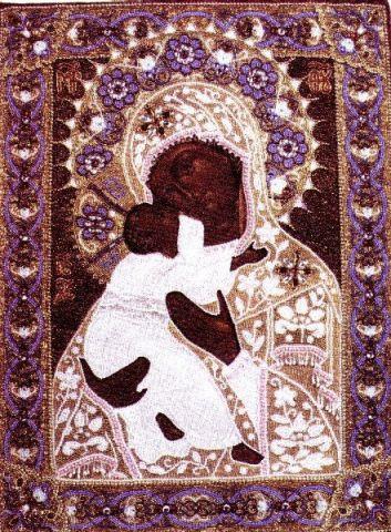 икона, вышивка бисером, 1800 год, Россия