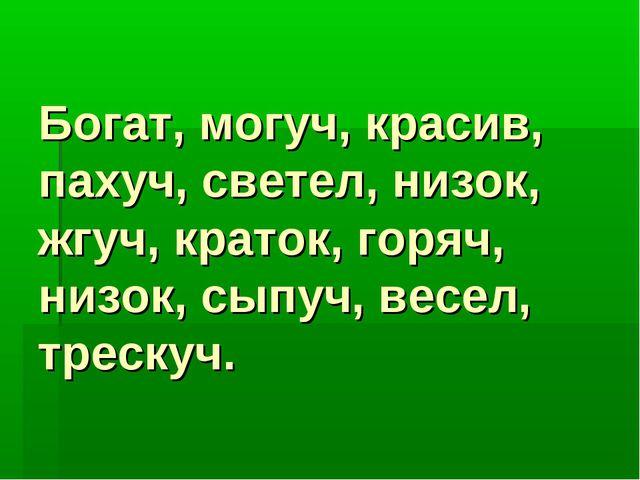 Богат, могуч, красив, пахуч, светел, низок, жгуч, краток, горяч, низок, сыпуч...