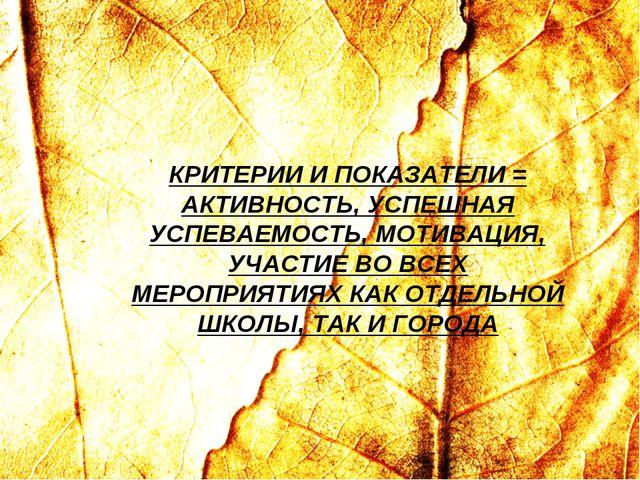 КРИТЕРИИ И ПОКАЗАТЕЛИ = АКТИВНОСТЬ, УСПЕШНАЯ УСПЕВАЕМОСТЬ, МОТИВАЦИЯ, УЧАСТИЕ...