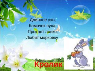 Длинное ухо, Комочек пуха, Прыгает ловко, Любит морковку Кролик