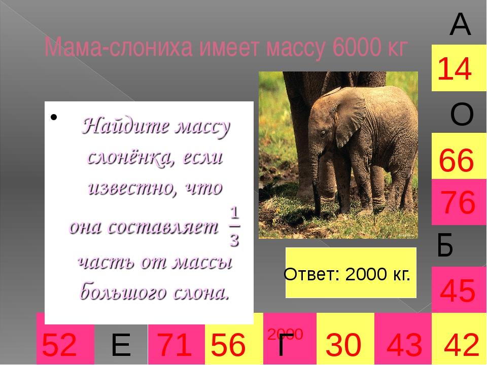 Мама-слониха имеет массу 6000 кг 2000 30 66 45 42 52 71 56 43 76 14 А Е О Отв...