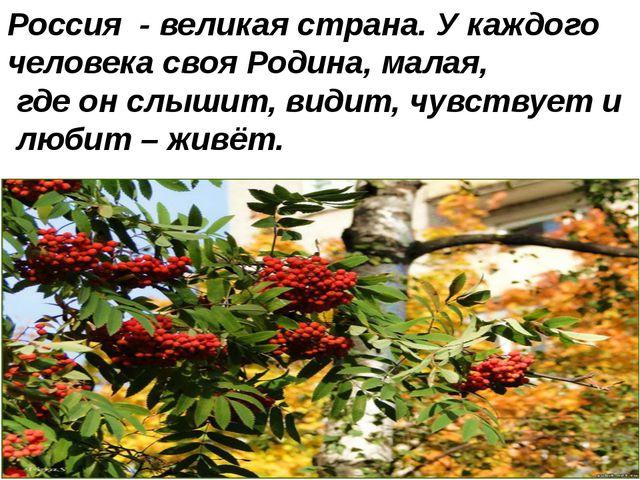 Россия - великая страна. У каждого человека своя Родина, малая, где он слышит...