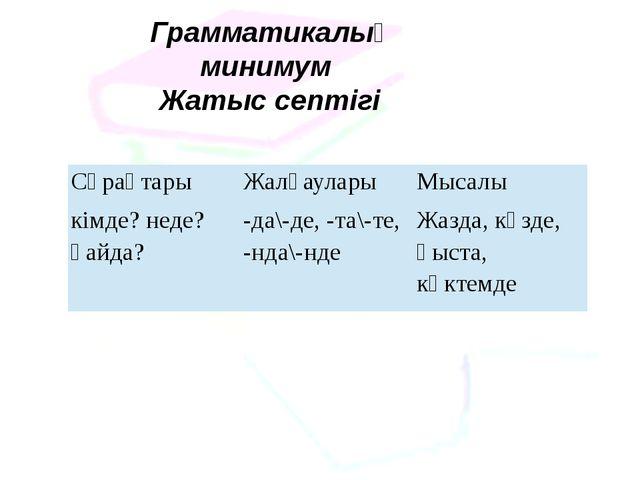 Грамматикалық минимум Жатыс септігі Сұрақтары Жалғаулары Мысалы кімде? неде?...