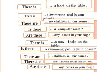 … a swimming pool in your school ? … no children in our house . … a computer