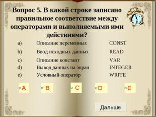 Вопрос 5. В какой строке записано правильное соответствие между операторами и
