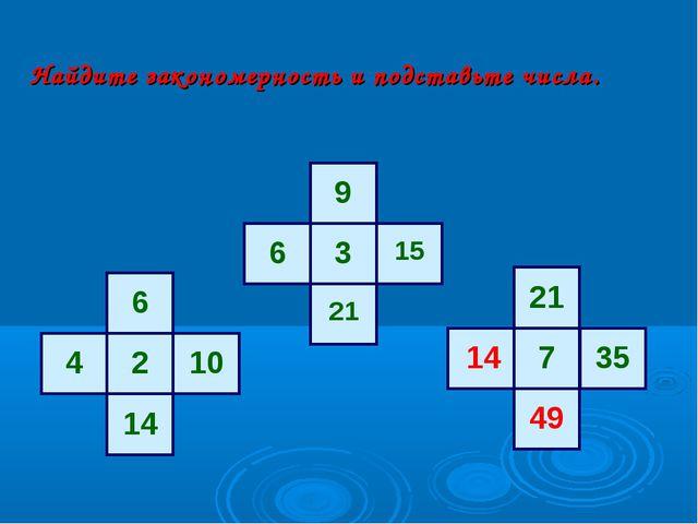 Найдите закономерность и подставьте числа. 6 2 10 14 4 9 3 15 21 6 21 7 35 14...