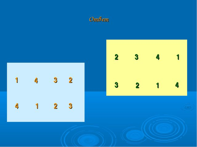 Ответ 2 3 4 1 3 2 1 4 1 4 3 2 4  1 2 3