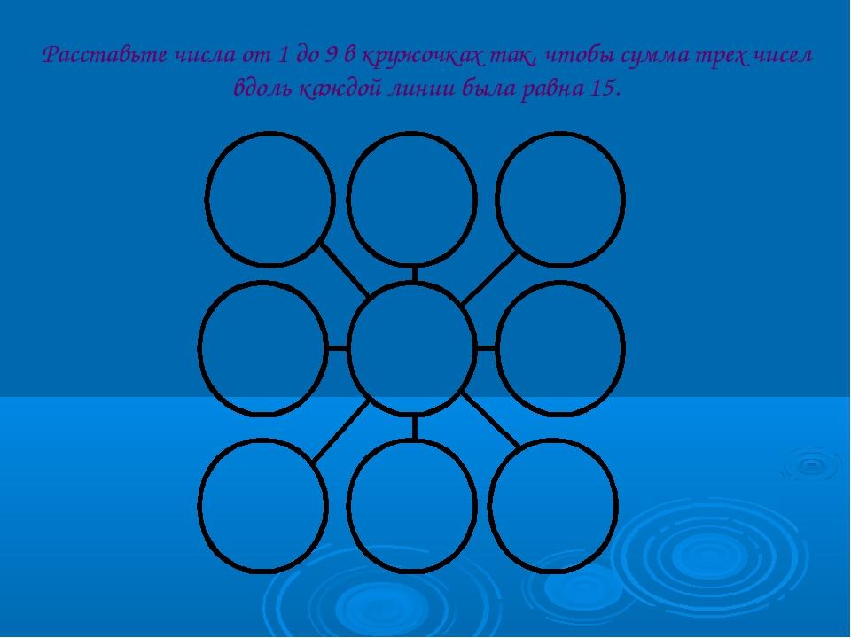 Расставьте числа от 1 до 9 в кружочках так, чтобы сумма трех чисел вдоль кажд...