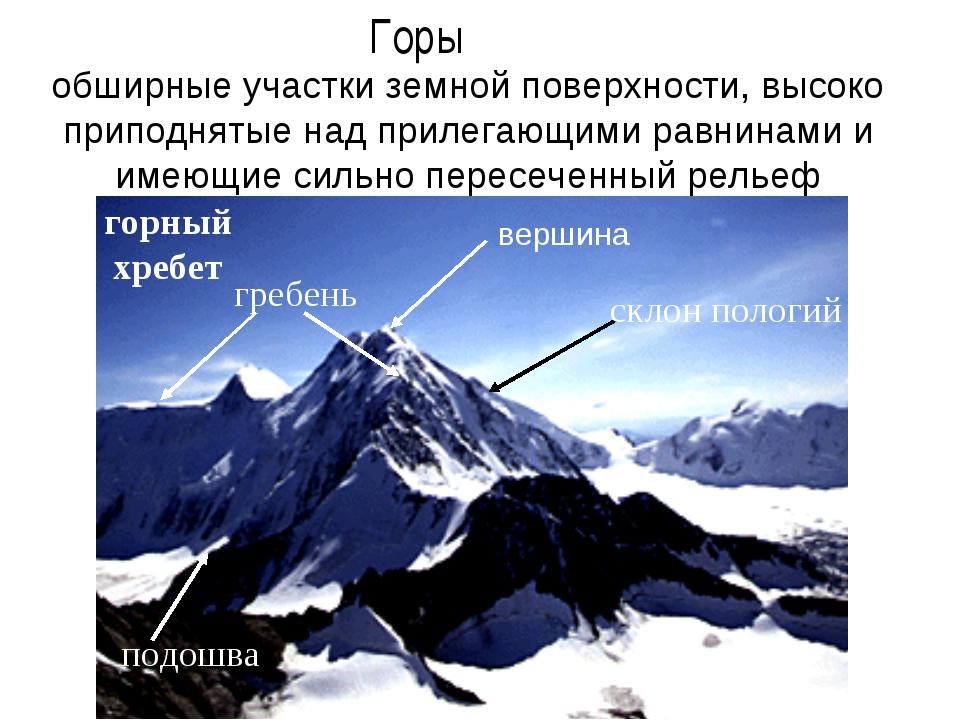 Горы обширные участки земной поверхности, высоко приподнятые над прилегающими...