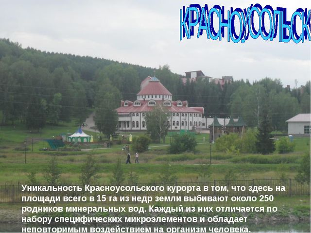 Уникальность Красноусольского курорта в том, что здесь на площади всего в 15...