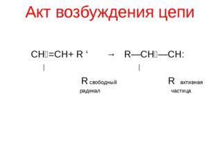 Акт возбуждения цепи СН₂=СН+ R ' → R—СН₂—СН: Ι Ι R свободный R активная радик