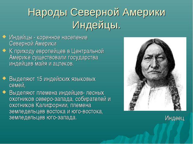Народы Северной Америки Индейцы. Индейцы - коренное население Северной Америк...